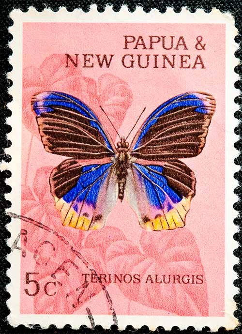 Sizzler's Restaurant - colour prints of Papua New Guinea postal stamps